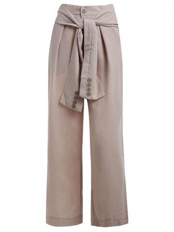 High Waist Belt Wide Leg Pants