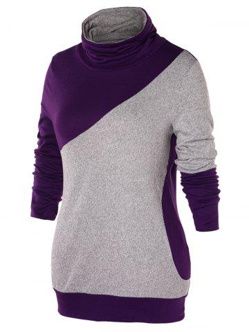 Plus Size Color Block Turtleneck Sweatshirt, Multi
