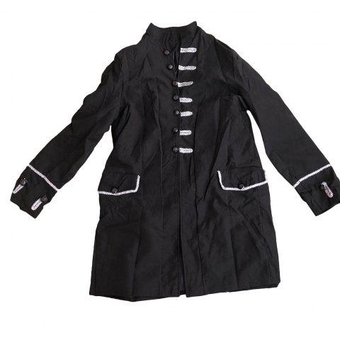 Men Vintage Jacket Outfit Jacquard Steampunk Gothic Cosplay Costume Overcoat - BLACK - 2XL