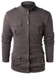 Stand Collar Epaulet Design Button Up Sweater -