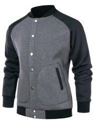 Color Block Raglan Sleeve Baseball Jacket -