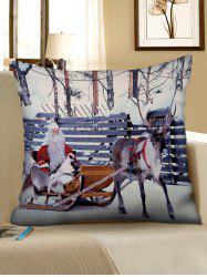 Christmas Elk Sleigh Pattern Decorative Sofa Linen Pillowcase -