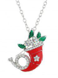 Christmas Rhinestone Horn Alloy Necklace -