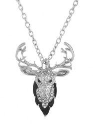 Rhinestone Elk Alloy Pendant Necklace -