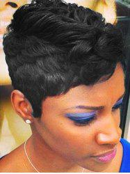 Short Layered Human Hair Slightly Curly Pixie Cut Wig -