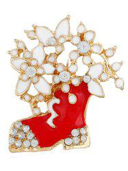Rhinestone Floral Boots Party Brooch -