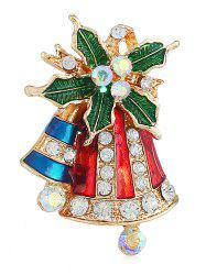 Colored Rhinestone Christmas Bell Party Brooch -