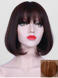 Short Full Bang Party Straight Bob Human Hair Wig -