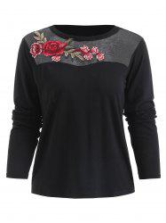 Mesh Insert Applique T-shirt -