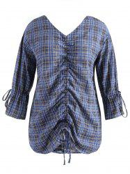 Plus Size Flare Sleeve Ruched Plaid Blouse -