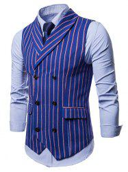 Double Breasted Shawl Collar Striped Waistcoat -