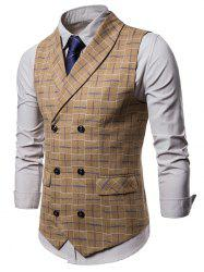 Double Breasted Shawl Collar Checked Waistcoat -
