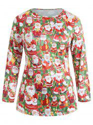 Plus Size Christmas Santa Claus Long Sleeve Tee -