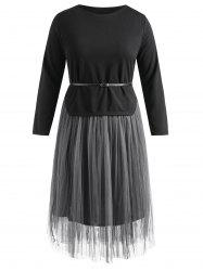 Belted Asymmetrical Top and Long Mesh Skirt -