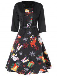 Christmas Print Belted Flare Dress -
