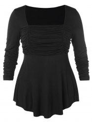 Square Neck Ruched Plus Size Asymmetric T-shirt -