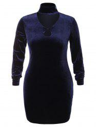 Plus Size High Neck Cut Out Velvet Dress -