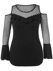 Plus Size Fishnet Panel Open Shoulder T-shirt -