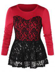 Plus Size Lace Panel Two Tone Peplum Tee -