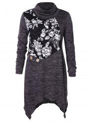 Plus Size Cowl Neck Floral Lace Insert Handkerchief T-shirt -