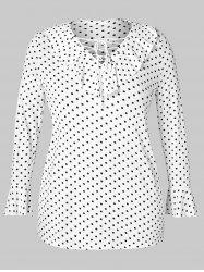 Plus Size Lace Up Dotted T-shirt -