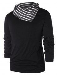 Striped Pile Heap Collar Long Sleeve T-shirt -