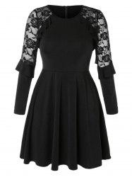 Plus Size Lace Insert Mini Flare Dress -