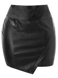Plus Size Asymmetrical Mini PU Skirt -