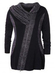 Plus Size Zip Fly Space Dyed Coat -