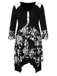 Plus Size Buttoned Floral Asymmetric Dress -