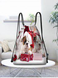 Christmas Dogs Pattern Gift Drawstring Bag -