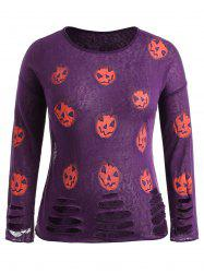Halloween Pumpkin Lantern Print Plus Size Ripped T-shirt -