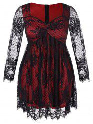 Plus Size Sweetheart Neck Sheer Sleeve Lace Dress -