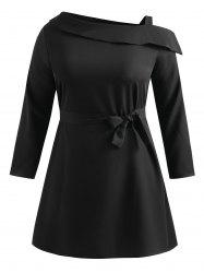 Plus Size Skew Neck Belted Dress -