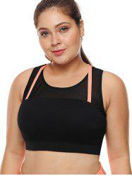 Plus Size Strappy Panel Workout Bra -
