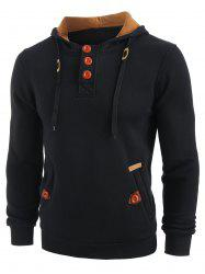 Sweat à Capuche en Blocs de Couleurs à Demi-Zip à Cordon - Noir L