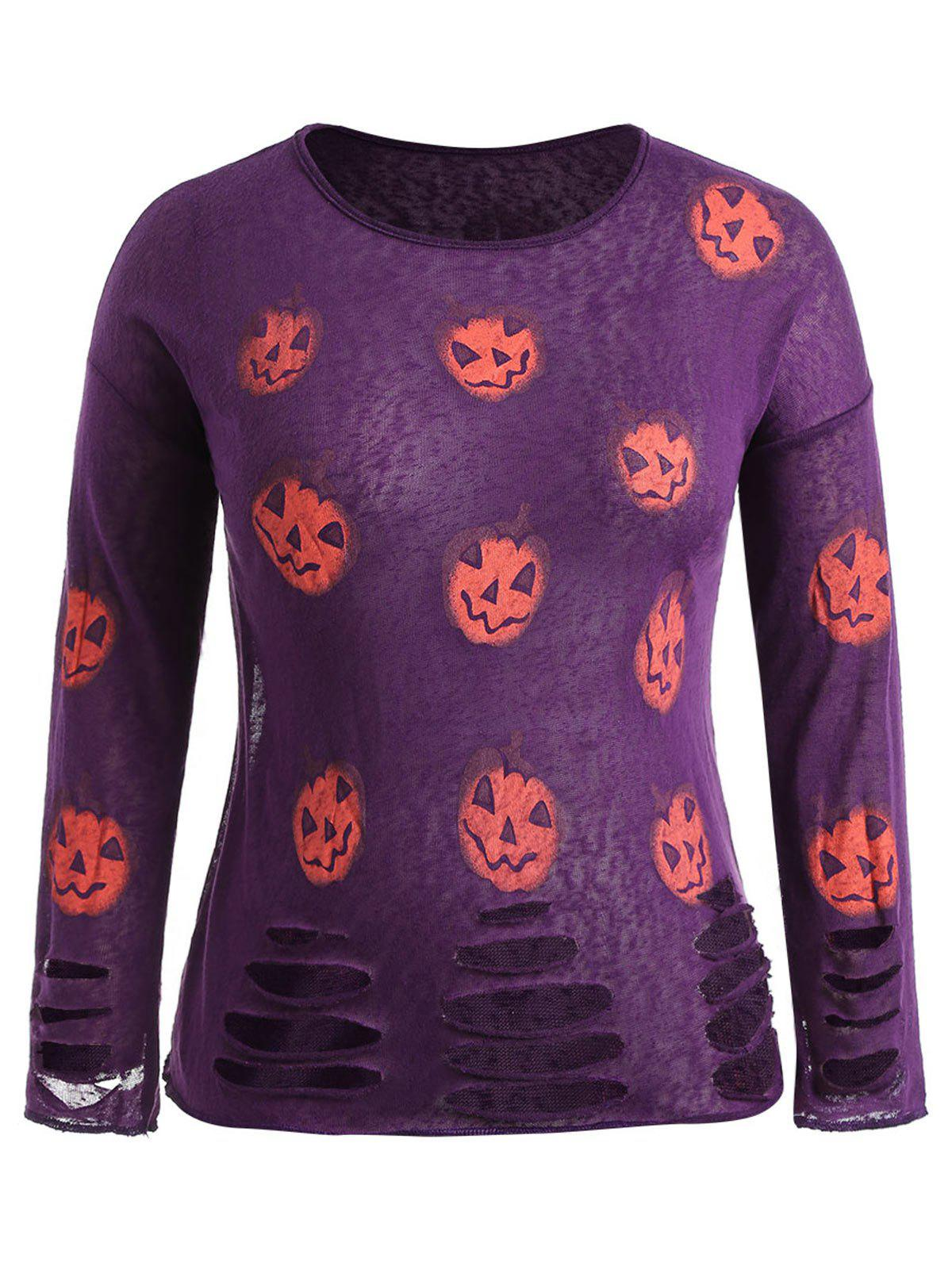 Latest Halloween Pumpkin Lantern Print Plus Size Ripped T-shirt