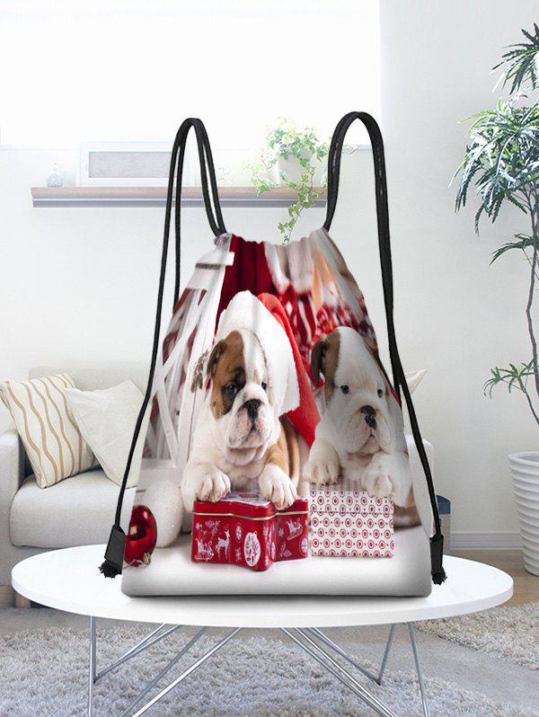 Latest Christmas Dogs Pattern Gift Drawstring Bag