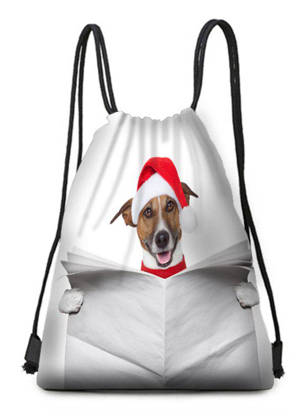 Chic Christmas Hatted Dog Print Drawstring Candy Bag