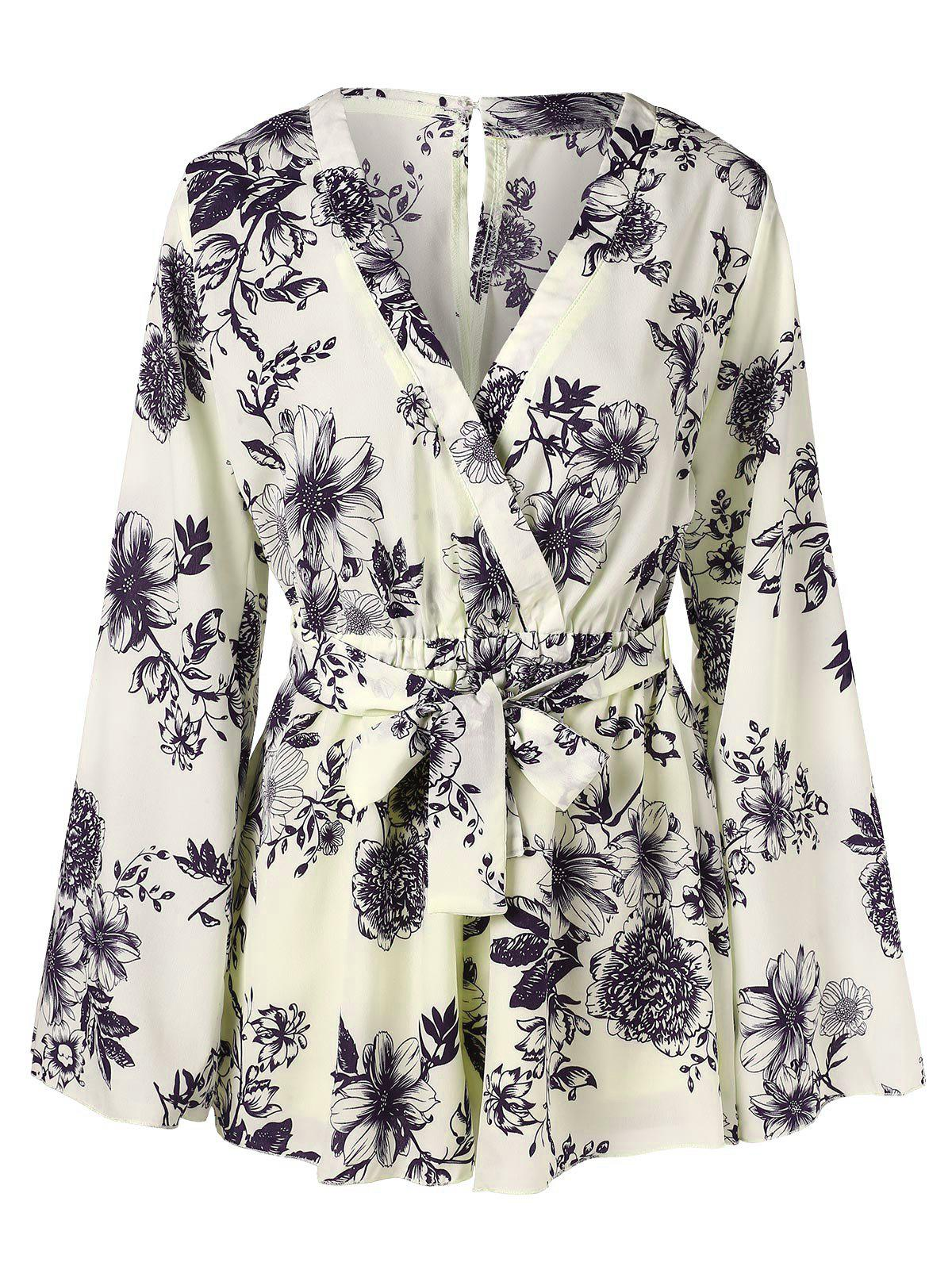 Cheap Floral Printed Surplice Romper