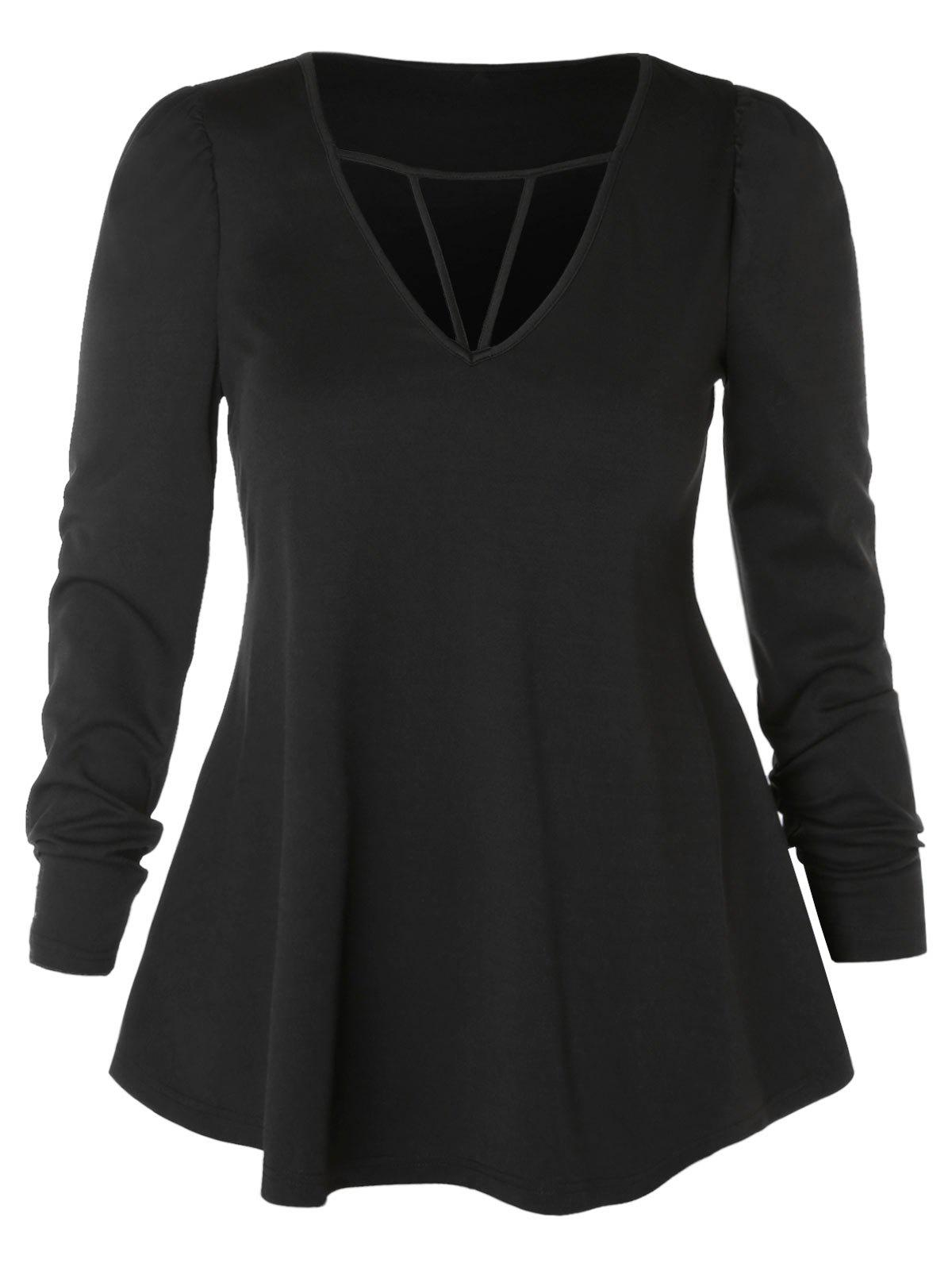 Discount Plus Size Long Sleeve Cut Out T-shirt