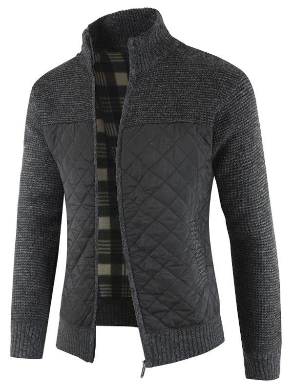 Affordable Casual Zip Up Pockets Patchwork Cardigan