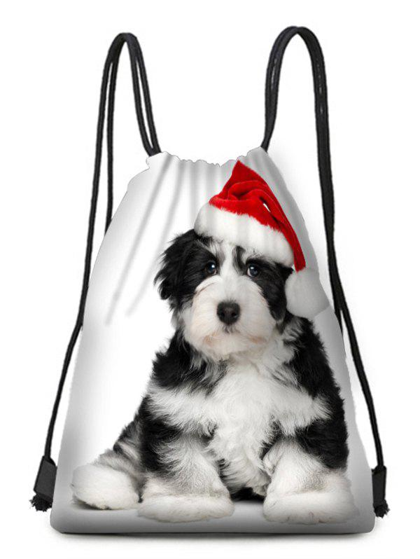 Best Hatted Dog Print Christmas Drawstring Candy Bag