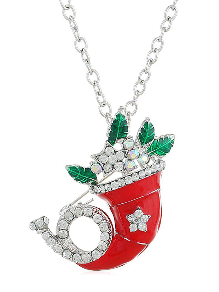 Outfit Christmas Rhinestone Horn Alloy Necklace