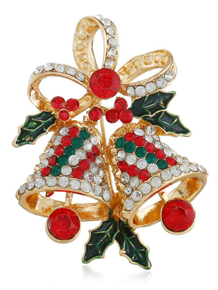 Fancy Rhinestone Christmas Bell Party Brooch