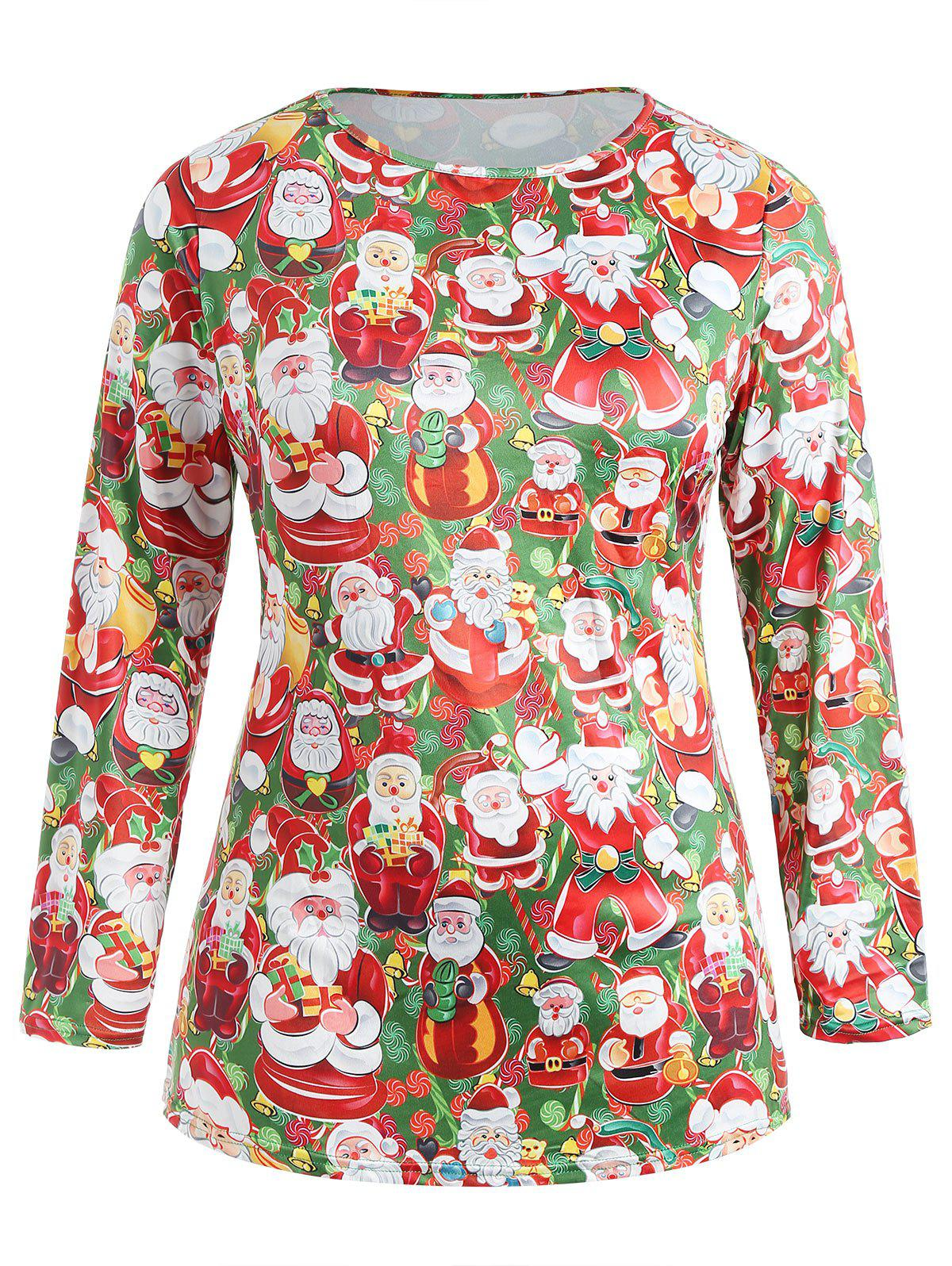 Outfit Plus Size Christmas Santa Claus Long Sleeve Tee