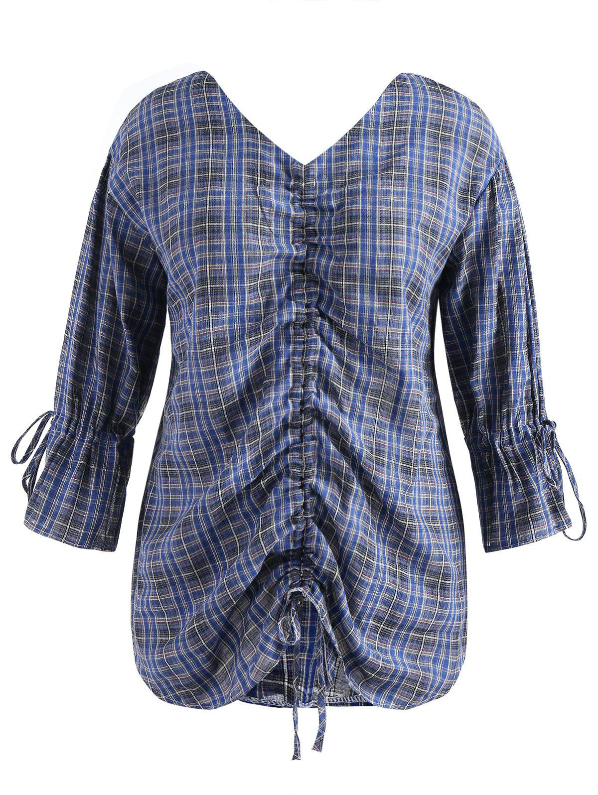 Buy Plus Size Flare Sleeve Ruched Plaid Blouse