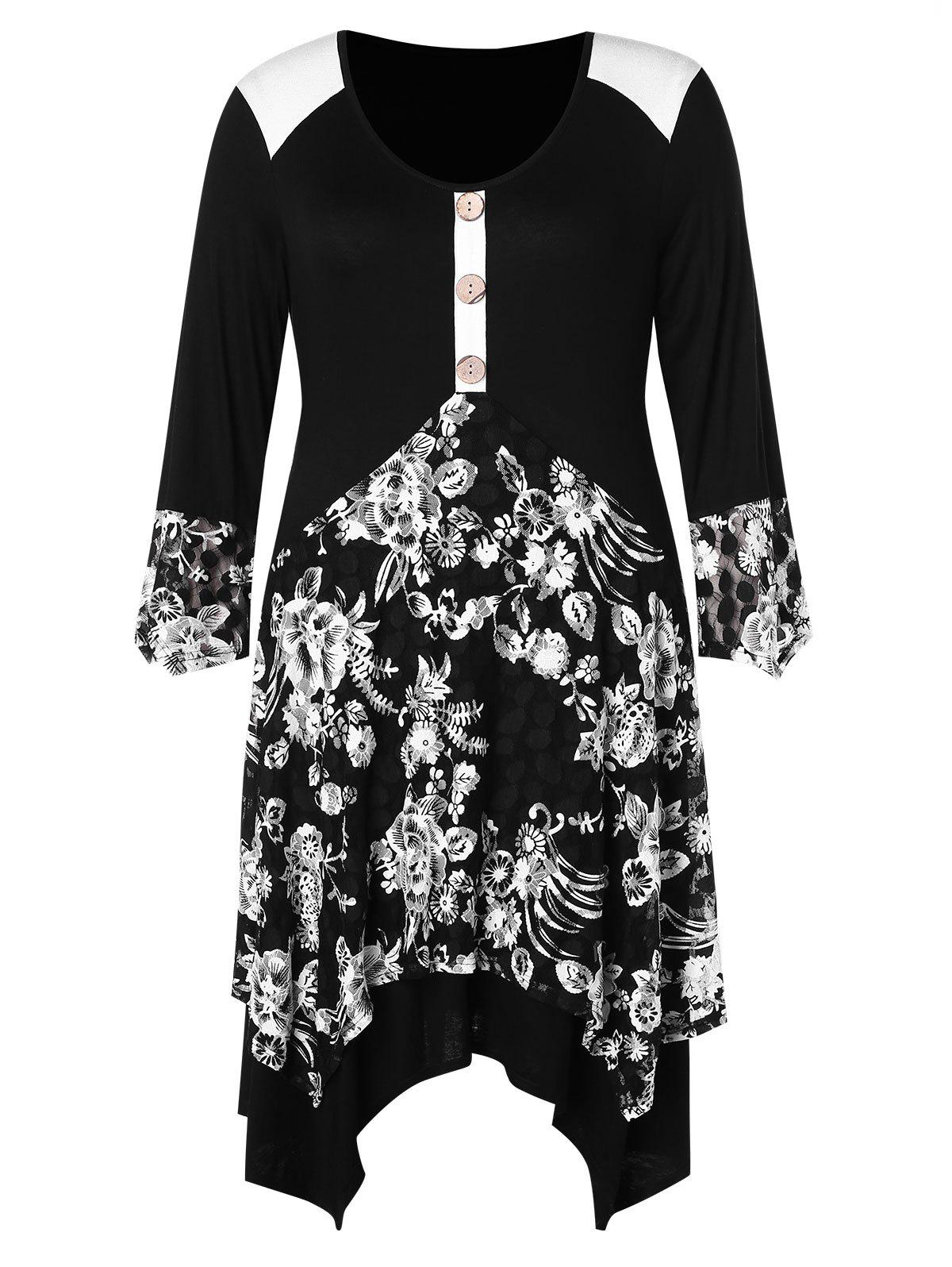 New Plus Size Buttoned Floral Asymmetric Dress