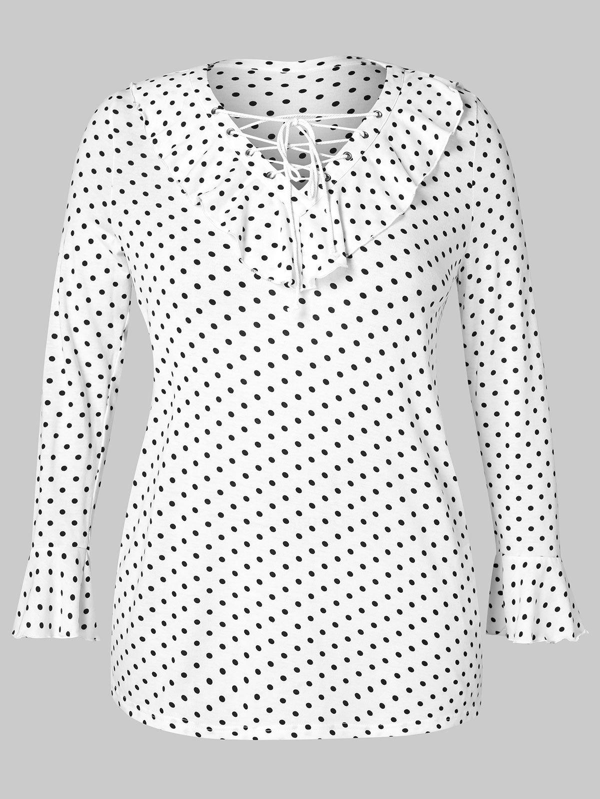 Affordable Plus Size Lace Up Dotted T-shirt