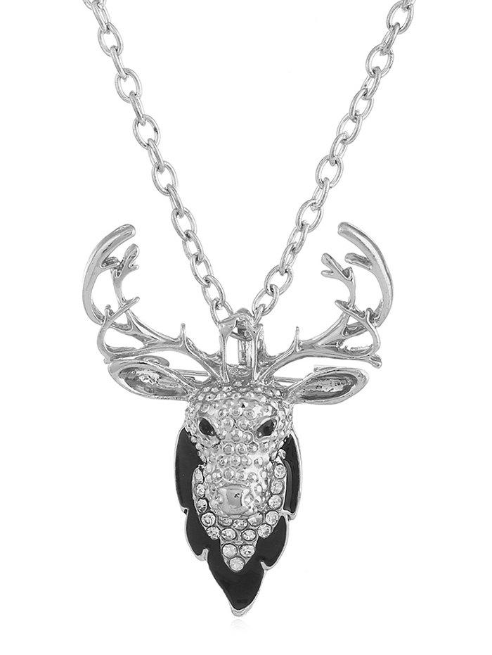 Latest Rhinestone Elk Alloy Pendant Necklace
